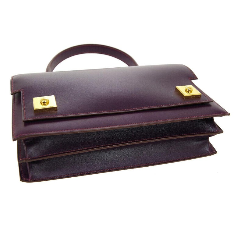 Hermes Purple Leather Gold Evening Kelly Style Top Handle Satchel Bag in Box  In Good Condition For Sale In Chicago, IL