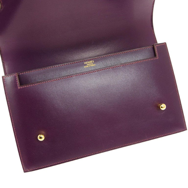 Women's Hermes Purple Leather Gold Evening Kelly Style Top Handle Satchel Bag in Box  For Sale