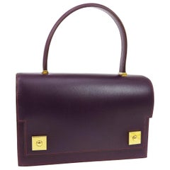Hermes Purple Leather Gold Evening Kelly Style Top Handle Satchel Bag in Box