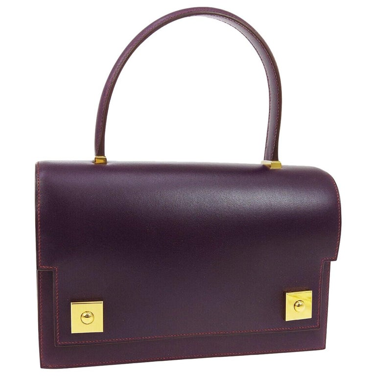Hermes Purple Leather Gold Evening Kelly Style Top Handle Satchel Bag in Box  For Sale
