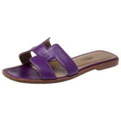 Hermes Purple Leather Oran Flat Slides Size 34