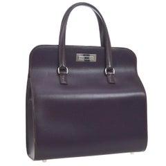 Hermes Purple Leather Top Handle Satchel Carryall Square Box Shoulder Bag