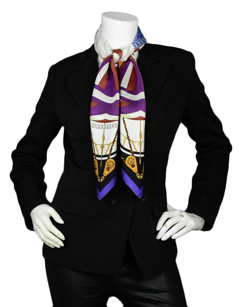 Hermes Purple Multi-color Carre Spinnakers 90cm Silk Scarf by Julie Abadie  Made In: France Color: Purple, White, Brown Materials: 100% Silk Overall Condition: Excellent pre-owned condition Estimated Retail: $415 + tax  Measurements:  36