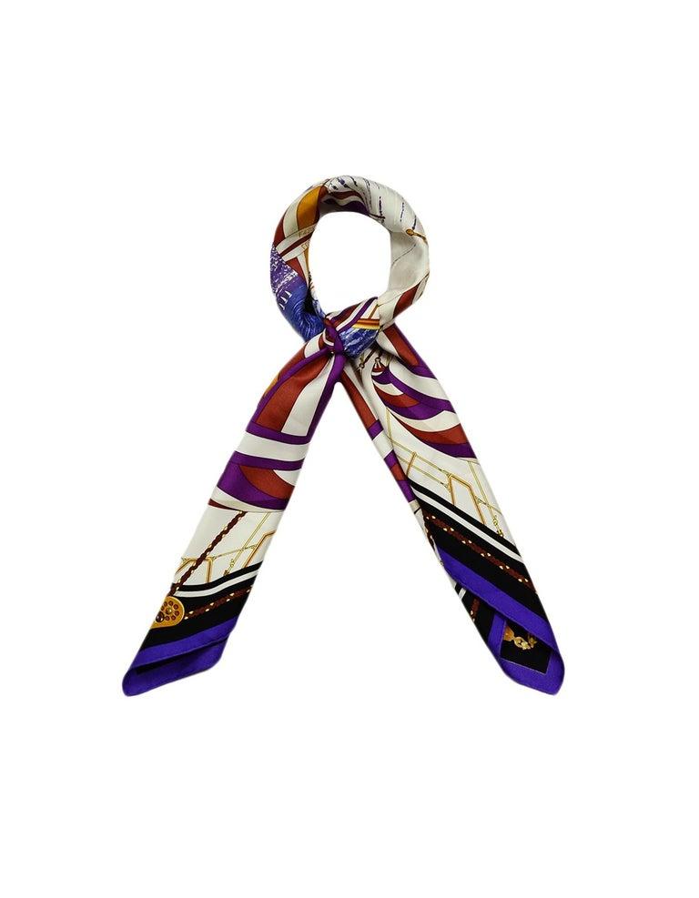Beige Hermes Purple Multi-color Carre Spinnakers 90cm Silk Scarf by Julie Abadie For Sale