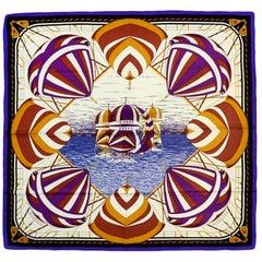 Hermes Purple Multi-color Carre Spinnakers 90cm Silk Scarf by Julie Abadie