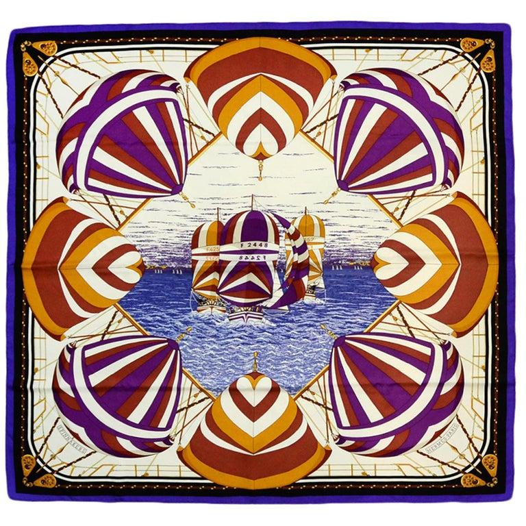 Hermes Purple Multi-color Carre Spinnakers 90cm Silk Scarf by Julie Abadie For Sale