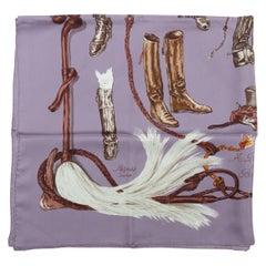 Hermes Purple & Multicolor Boot Print Scarf