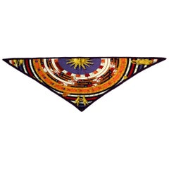 Hermes Purple/Multicolor Dies et Hore Silk Pointu Triangle Scarf