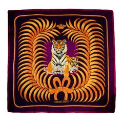Hermes Purple & Pink Royal Tiger Silk & Cashmere 140cm Scarf Shawl