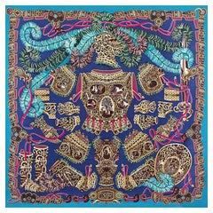 HERMES purple SOUS L'EGIDE DE MARS 140 cashmere silk Shawl Scarf