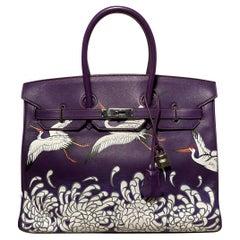Hermes Purple Swift Leather Birkin 35 with Hand Painted Cranes & Chrysanthemums