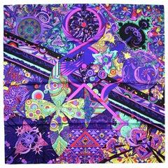 Hermes Purple/Ultra Violet/Cyclamen/Vert L'ivresse De L'infini 90CM Silk Scarf