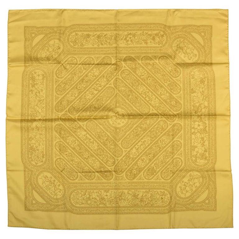 8e79c6e719be Hermes Qalamdan Yellow Silk Scarf, Box For Sale at 1stdibs