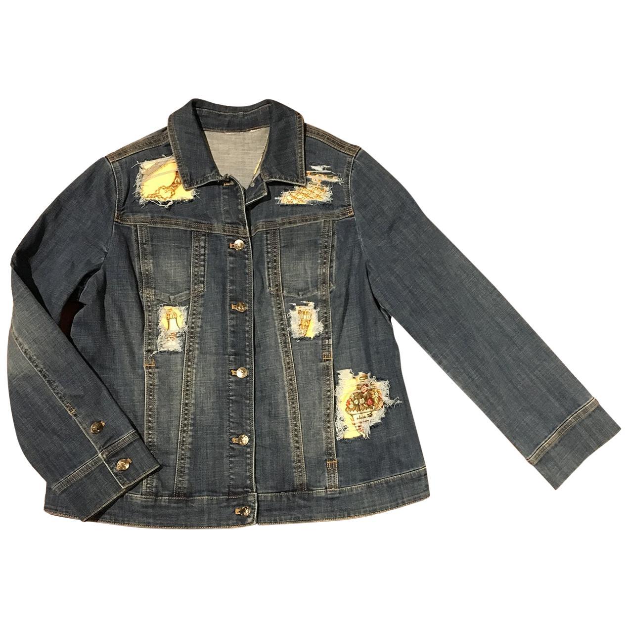 Hermes Qui' Import le Flacons Silk Scarf Distressed Denim Jacket-Medium