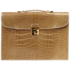 Hermes Quirus Briefcase / Portfolio / Attache Ficelle Alligator Gold Hardware