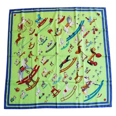 Hermes Raconte-moi le Cheval Blue and Neon Green Toy print Scarf