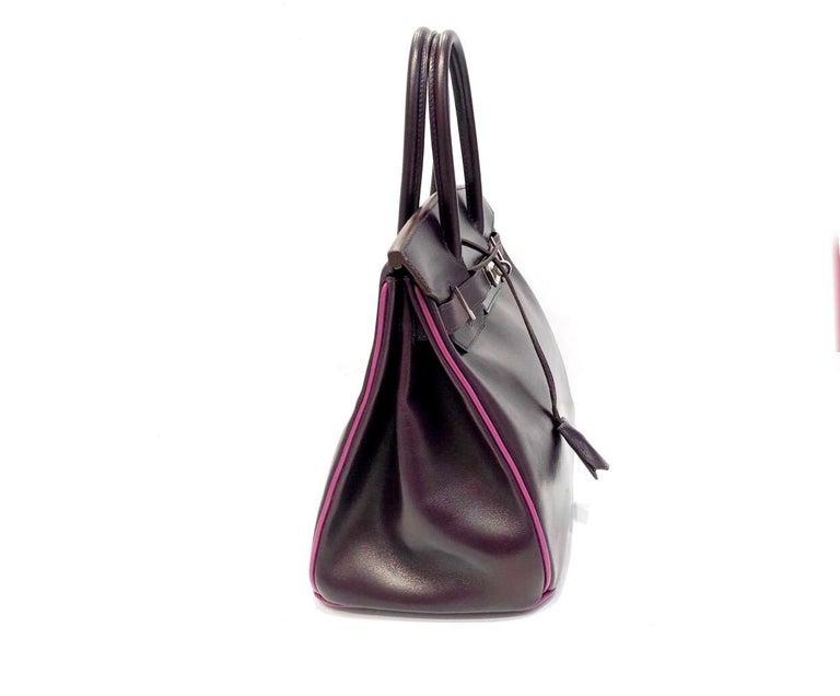 Women's or Men's Hermès Raisin Birkin 30 Bag in Box Calf leather.2005 For Sale