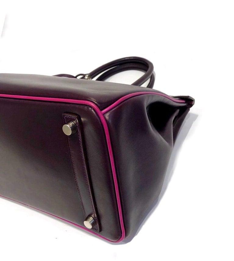 Hermès Raisin Birkin 30 Bag in Box Calf leather.2005 For Sale 1