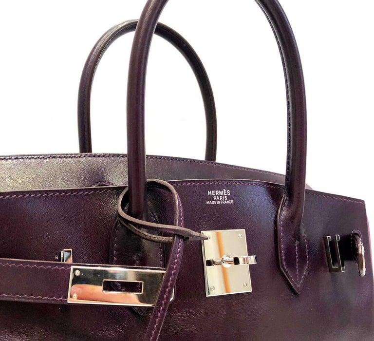 Hermès Raisin Birkin 30 Bag in Box Calf leather.2005 For Sale 2