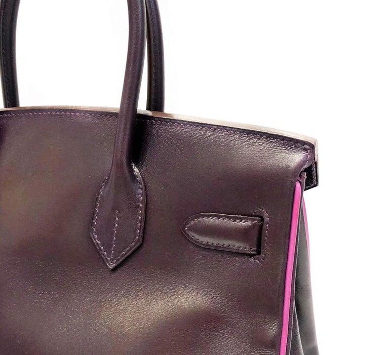 Hermès Raisin Birkin 30 Bag in Box Calf leather.2005 For Sale 3
