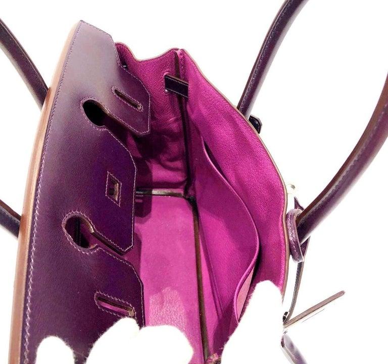 Hermès Raisin Birkin 30 Bag in Box Calf leather.2005 For Sale 5