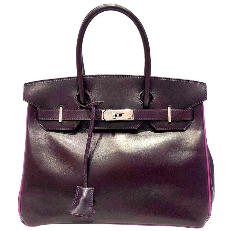 Hermès Raisin Birkin 30 Bag in Box Calf leather.2005 For Sale