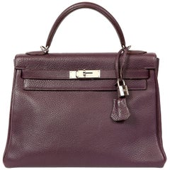 Hermès Raisin Togo 32 cm Kelly Bag
