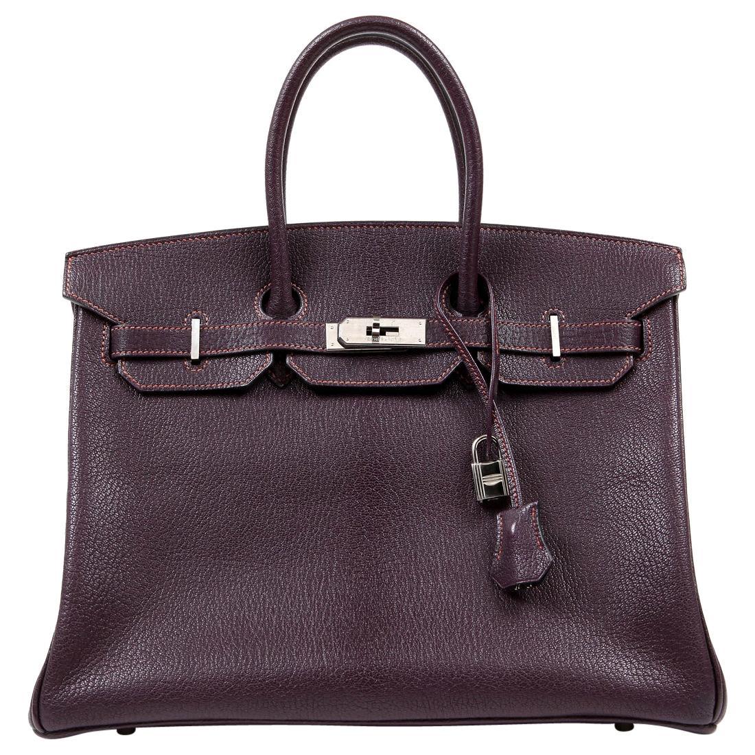 Hermès Raisin Chevre Leather 35 cm Birkin Bag