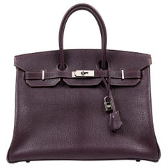 Hermès Raisin Chevre Leather 35 cm Birkin Bag