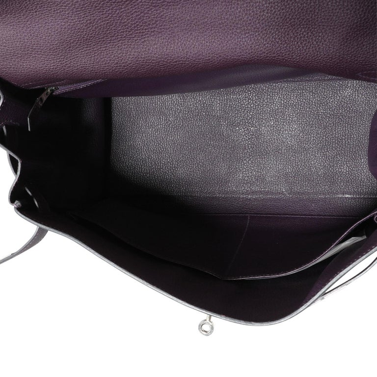 Black Hermès Raisin Togo Kelly Retourne 35 PHW For Sale