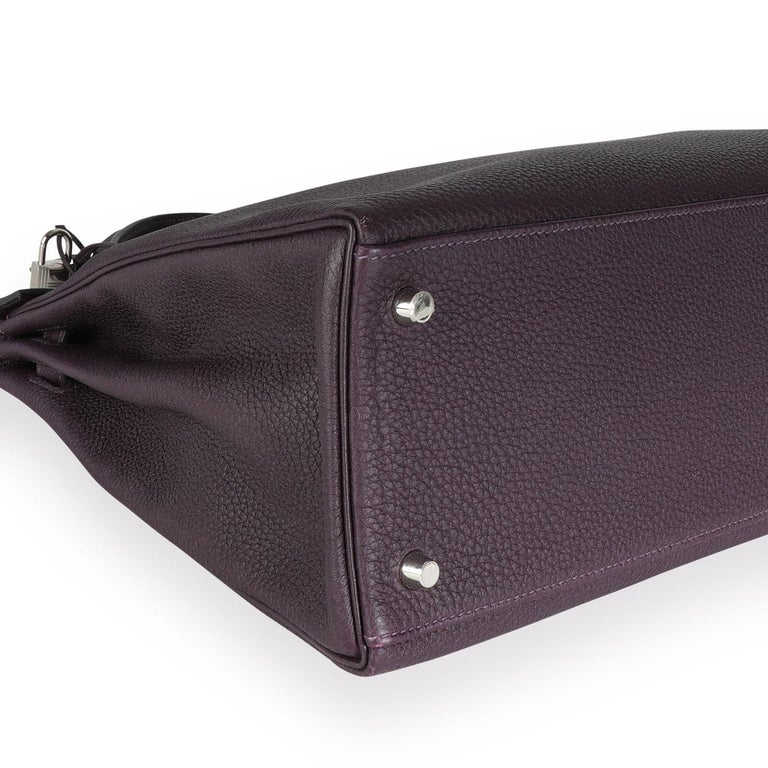 Hermès Raisin Togo Kelly Retourne 35 PHW In Good Condition For Sale In New York, NY
