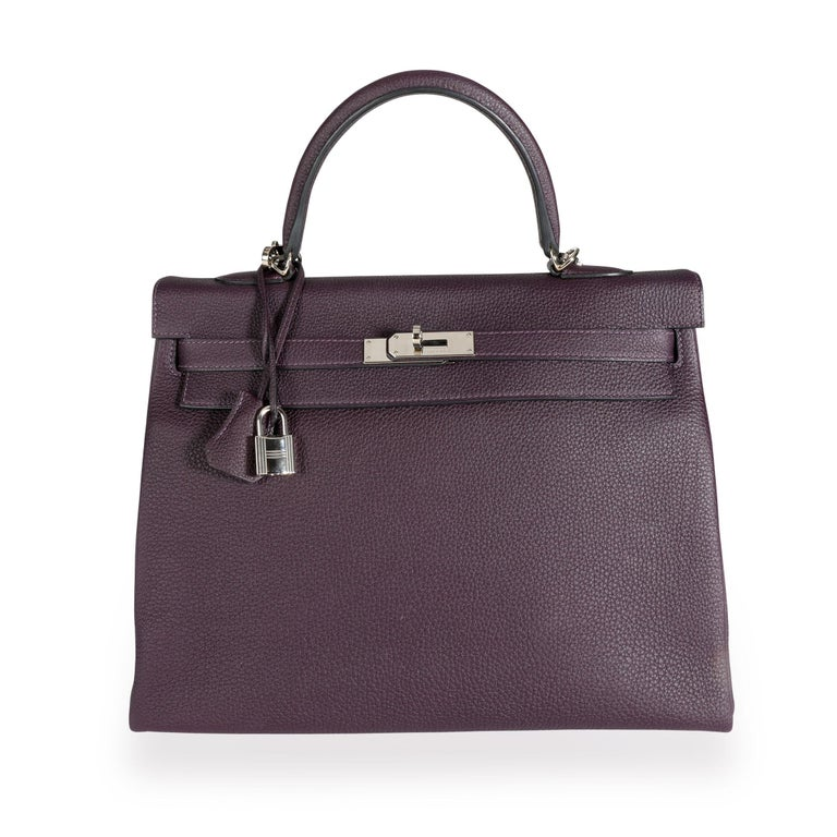 Hermès Raisin Togo Kelly Retourne 35 PHW For Sale 2