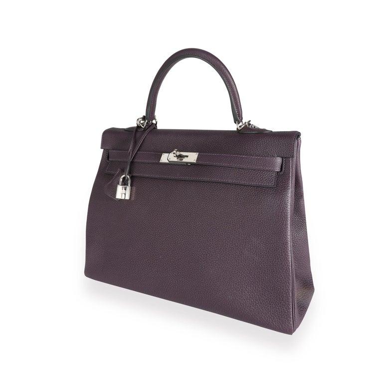 Hermès Raisin Togo Kelly Retourne 35 PHW For Sale 4