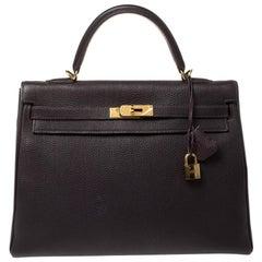 Hermes Raisin Togo Leather Gold Hardware Kelly Retourne 35 Bag