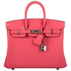 Hermes Rare Birkin 25 Rose Azalee Swift