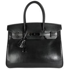 Hermès Rare Black Box Calf So Black Birkin 30 PVD