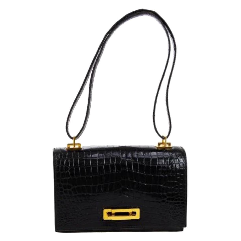 Hermes Rare Black Crocodile Gold Evening Top Handle Satchel Shoulder Flap Bag