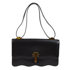 Hermes Rare Black Leather Gold Charm Evening Shoulder Flap Bag