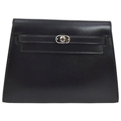 Hermes Rare Black Leather Silver Turnlock Evening Flap Clutch Bag