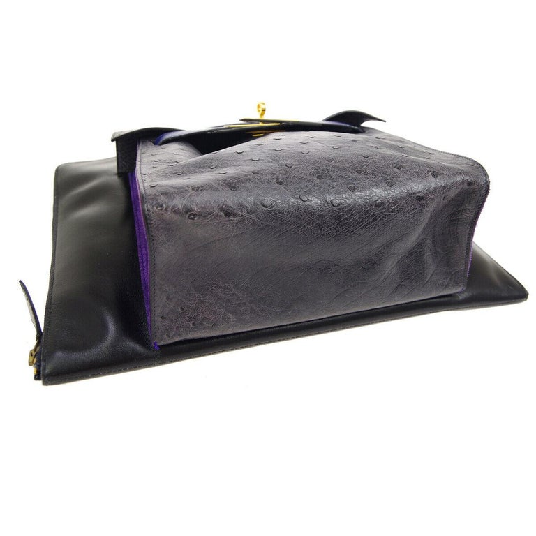 Hermes Rare Blue Black Gray Leather Ostrich Gold 2 in 1 Clutch Shoulder Bag In Good Condition For Sale In Chicago, IL