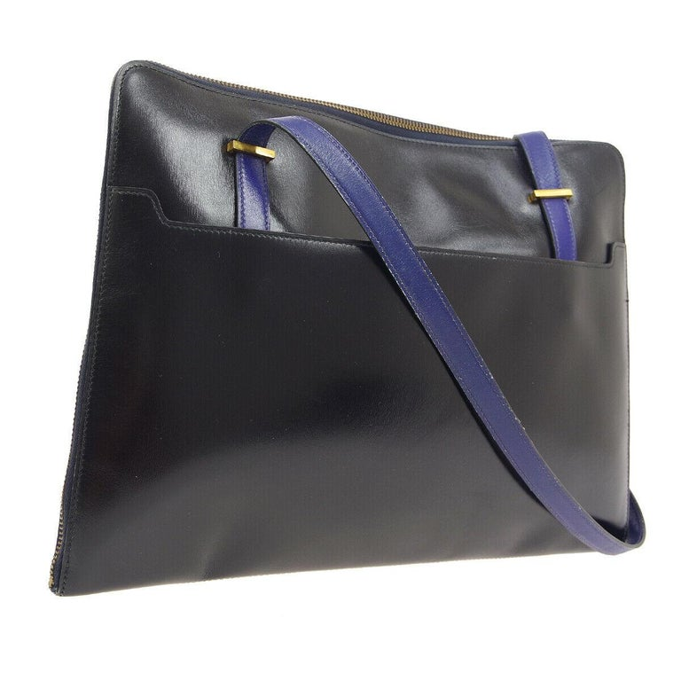 Women's Hermes Rare Blue Black Gray Leather Ostrich Gold 2 in 1 Clutch Shoulder Bag For Sale