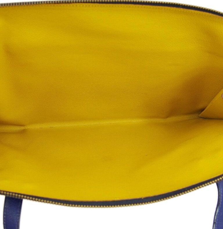Hermes Rare Blue Black Gray Leather Ostrich Gold 2 in 1 Clutch Shoulder Bag For Sale 1
