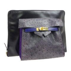 Hermes Rare Blue Black Gray Leather Ostrich Gold 2 in 1 Clutch Shoulder Bag