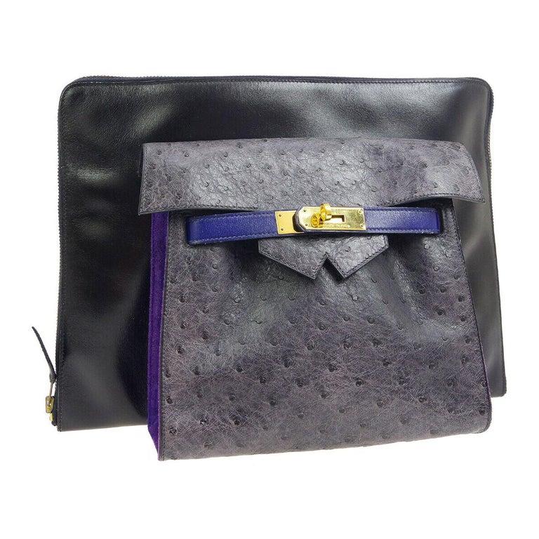 Hermes Rare Blue Black Gray Leather Ostrich Gold 2 in 1 Clutch Shoulder Bag For Sale