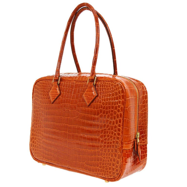 Hermes Rare Crocodile Leather Evening Small Tote Top Handle Satchel Bag In  Excellent Condition For Sale 6ebfc7fd920a4