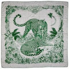 Hermes Rare Gray Green Jungle Love  Cashmere Shawl