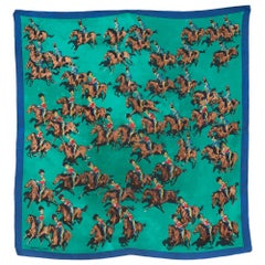 Hermes Rare Green Cavalcade la Charge by Lamotte Silk Scarf