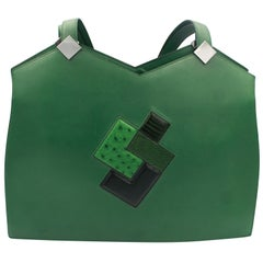 Hermes Rare Green Courchevel and Leather Patchwork Shoulder Bag