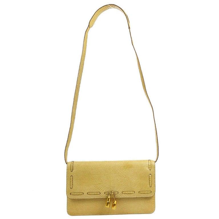 Orange Hermes Rare Nude Ivory Lizard Tassel Envelope Clutch Evening Clutch Shoulder Bag For Sale