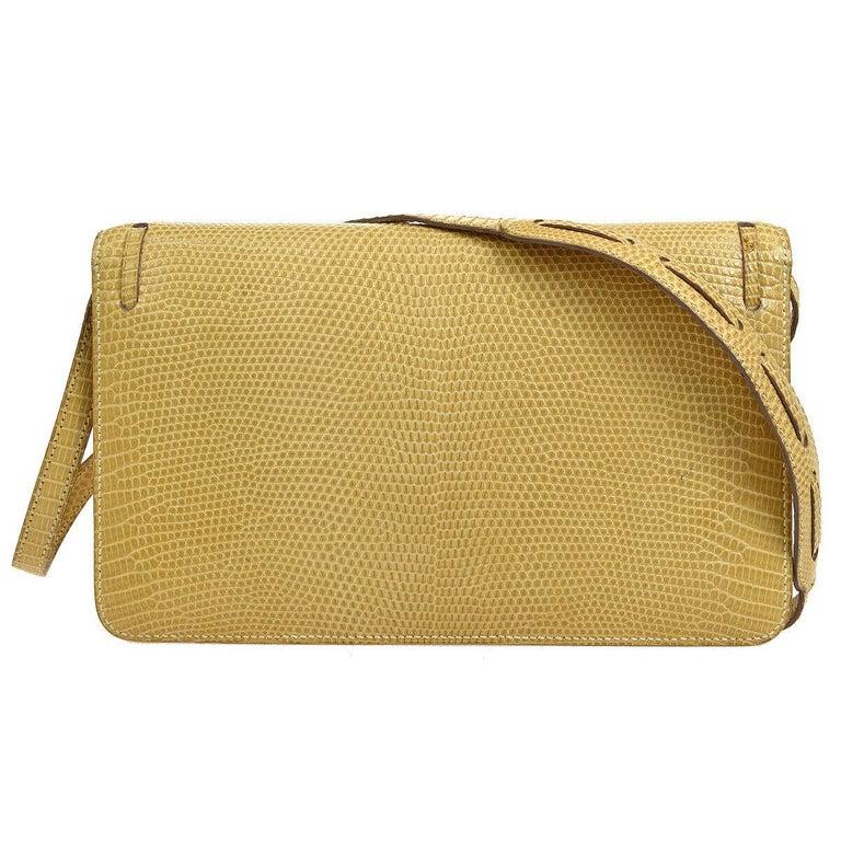 Women's Hermes Rare Nude Ivory Lizard Tassel Envelope Clutch Evening Clutch Shoulder Bag For Sale